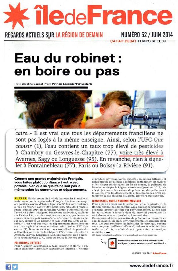 Eau du Robinet -Ile de France