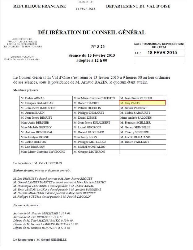 Délibération du Conseil Général du 13 février 2015 (1)