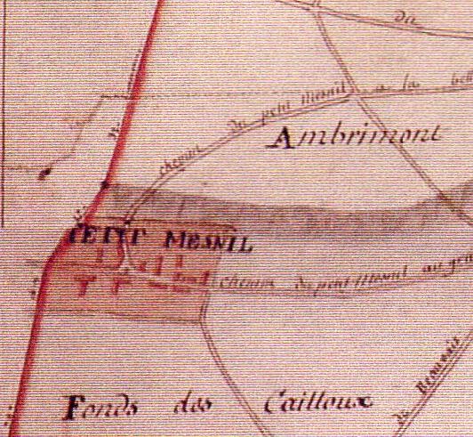 Petit Mesnil - Plan Terrier de Sagy 1815