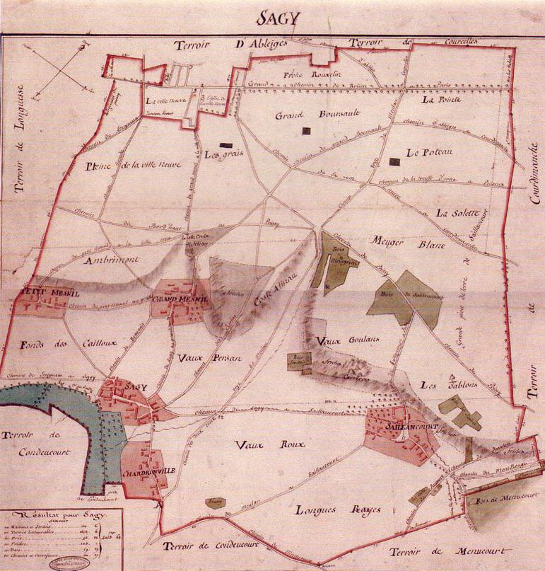 Plan Terrier de Sagy 1815b