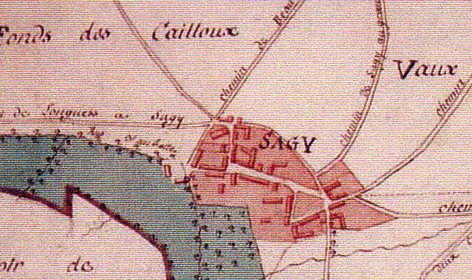 Village Sagy - Plan Terrier de Sagy 1815